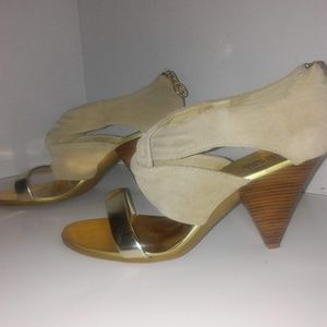 Michael Kors Gold and Suede Heels Size 7